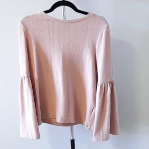 BOGO Free Blush pink crew neck sweater with baloon sleeves